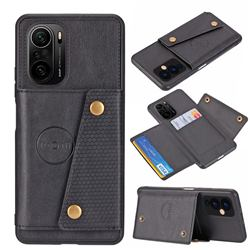 Retro Multifunction Card Slots Stand Leather Coated Phone Back Cover for Xiaomi Redmi K40 / K40 Pro - Black