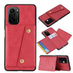 Retro Multifunction Card Slots Stand Leather Coated Phone Back Cover for Xiaomi Redmi K40 / K40 Pro - Red