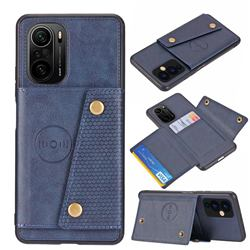 Retro Multifunction Card Slots Stand Leather Coated Phone Back Cover for Xiaomi Redmi K40 / K40 Pro - Blue