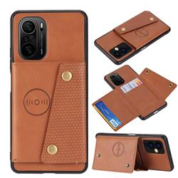 Retro Multifunction Card Slots Stand Leather Coated Phone Back Cover for Xiaomi Redmi K40 / K40 Pro - Brown