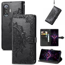 Embossing Imprint Mandala Flower Leather Wallet Case for Xiaomi Redmi K40 Gaming - Black