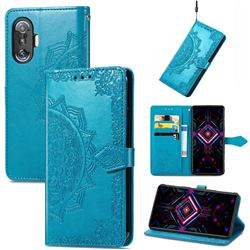 Embossing Imprint Mandala Flower Leather Wallet Case for Xiaomi Redmi K40 Gaming - Blue
