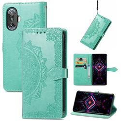 Embossing Imprint Mandala Flower Leather Wallet Case for Xiaomi Redmi K40 Gaming - Green