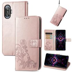 Embossing Imprint Four-Leaf Clover Leather Wallet Case for Xiaomi Redmi K40 Gaming - Rose Gold