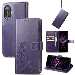 Embossing Imprint Four-Leaf Clover Leather Wallet Case for Xiaomi Redmi K40 Gaming - Purple
