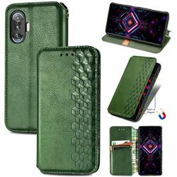 Ultra Slim Fashion Business Card Magnetic Automatic Suction Leather Flip Cover for Xiaomi Redmi K40 Gaming - Green