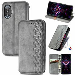 Ultra Slim Fashion Business Card Magnetic Automatic Suction Leather Flip Cover for Xiaomi Redmi K40 Gaming - Grey