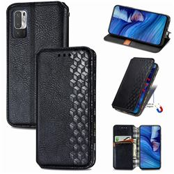 Ultra Slim Fashion Business Card Magnetic Automatic Suction Leather Flip Cover for Xiaomi Redmi Note 10 5G - Black