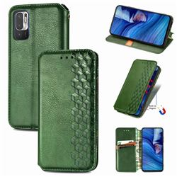 Ultra Slim Fashion Business Card Magnetic Automatic Suction Leather Flip Cover for Xiaomi Redmi Note 10 5G - Green