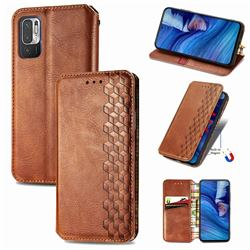 Ultra Slim Fashion Business Card Magnetic Automatic Suction Leather Flip Cover for Xiaomi Redmi Note 10 5G - Brown