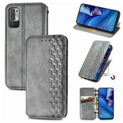 Ultra Slim Fashion Business Card Magnetic Automatic Suction Leather Flip Cover for Xiaomi Redmi Note 10 5G - Grey