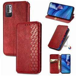 Ultra Slim Fashion Business Card Magnetic Automatic Suction Leather Flip Cover for Xiaomi Redmi Note 10 5G - Red