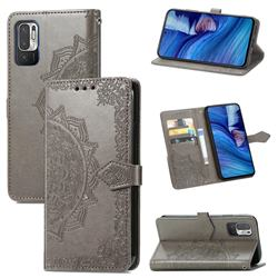 Embossing Imprint Mandala Flower Leather Wallet Case for Xiaomi Redmi Note 10 5G - Gray
