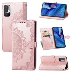 Embossing Imprint Mandala Flower Leather Wallet Case for Xiaomi Redmi Note 10 5G - Rose Gold