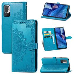 Embossing Imprint Mandala Flower Leather Wallet Case for Xiaomi Redmi Note 10 5G - Blue