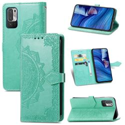 Embossing Imprint Mandala Flower Leather Wallet Case for Xiaomi Redmi Note 10 5G - Green