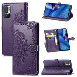 Embossing Imprint Mandala Flower Leather Wallet Case for Xiaomi Redmi Note 10 5G - Purple