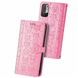 Embossing Dog Paw Kitten and Puppy Leather Wallet Case for Xiaomi Redmi Note 10 5G - Pink