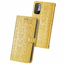 Embossing Dog Paw Kitten and Puppy Leather Wallet Case for Xiaomi Redmi Note 10 5G - Yellow