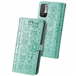 Embossing Dog Paw Kitten and Puppy Leather Wallet Case for Xiaomi Redmi Note 10 5G - Green