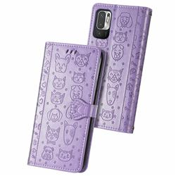Embossing Dog Paw Kitten and Puppy Leather Wallet Case for Xiaomi Redmi Note 10 5G - Purple
