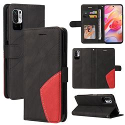 Luxury Two-color Stitching Leather Wallet Case Cover for Xiaomi Redmi Note 10 5G - Black