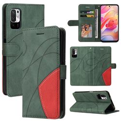 Luxury Two-color Stitching Leather Wallet Case Cover for Xiaomi Redmi Note 10 5G - Green