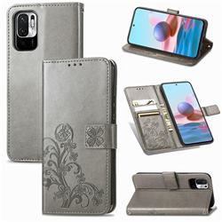 Embossing Imprint Four-Leaf Clover Leather Wallet Case for Xiaomi Redmi Note 10 5G - Grey