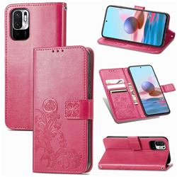 Embossing Imprint Four-Leaf Clover Leather Wallet Case for Xiaomi Redmi Note 10 5G - Rose Red