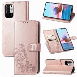 Embossing Imprint Four-Leaf Clover Leather Wallet Case for Xiaomi Redmi Note 10 5G - Rose Gold
