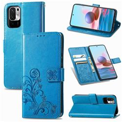 Embossing Imprint Four-Leaf Clover Leather Wallet Case for Xiaomi Redmi Note 10 5G - Blue