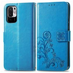 Embossing Imprint Four-Leaf Clover Leather Wallet Case for Xiaomi Redmi Note 10 JE - Blue