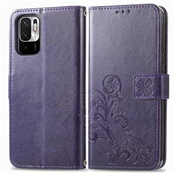 Embossing Imprint Four-Leaf Clover Leather Wallet Case for Xiaomi Redmi Note 10 JE - Purple
