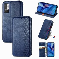 Ultra Slim Fashion Business Card Magnetic Automatic Suction Leather Flip Cover for Xiaomi Redmi Note 10 JE - Dark Blue