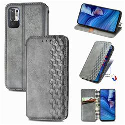 Ultra Slim Fashion Business Card Magnetic Automatic Suction Leather Flip Cover for Xiaomi Redmi Note 10 JE - Grey
