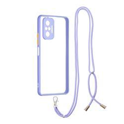 Necklace Cross-body Lanyard Strap Cord Phone Case Cover for Xiaomi Redmi Note 10 Pro / Note 10 Pro Max - Purple