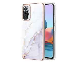 White Dreaming Electroplated Gold Frame 2.0 Thickness Plating Marble IMD Soft Back Cover for Xiaomi Redmi Note 10 Pro / Note 10 Pro Max