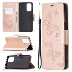 Embossing Double Butterfly Leather Wallet Case for Xiaomi Redmi Note 10 Pro / Note 10 Pro Max - Rose Gold