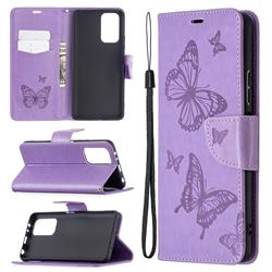 Embossing Double Butterfly Leather Wallet Case for Xiaomi Redmi Note 10 Pro / Note 10 Pro Max - Purple