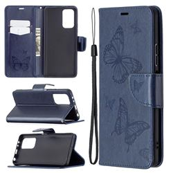 Embossing Double Butterfly Leather Wallet Case for Xiaomi Redmi Note 10 Pro / Note 10 Pro Max - Dark Blue