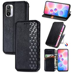 Ultra Slim Fashion Business Card Magnetic Automatic Suction Leather Flip Cover for Xiaomi Redmi Note 10 Pro / Note 10 Pro Max - Black