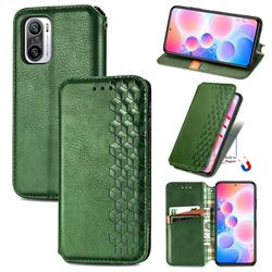Ultra Slim Fashion Business Card Magnetic Automatic Suction Leather Flip Cover for Xiaomi Redmi Note 10 Pro / Note 10 Pro Max - Green