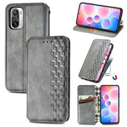 Ultra Slim Fashion Business Card Magnetic Automatic Suction Leather Flip Cover for Xiaomi Redmi Note 10 Pro / Note 10 Pro Max - Grey