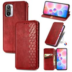 Ultra Slim Fashion Business Card Magnetic Automatic Suction Leather Flip Cover for Xiaomi Redmi Note 10 Pro / Note 10 Pro Max - Red