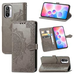 Embossing Imprint Mandala Flower Leather Wallet Case for Xiaomi Redmi Note 10 Pro / Note 10 Pro Max - Gray