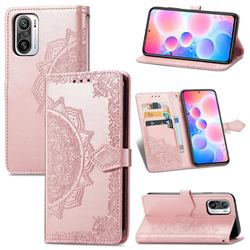 Embossing Imprint Mandala Flower Leather Wallet Case for Xiaomi Redmi Note 10 Pro / Note 10 Pro Max - Rose Gold