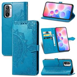 Embossing Imprint Mandala Flower Leather Wallet Case for Xiaomi Redmi Note 10 Pro / Note 10 Pro Max - Blue