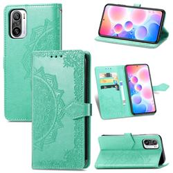 Embossing Imprint Mandala Flower Leather Wallet Case for Xiaomi Redmi Note 10 Pro / Note 10 Pro Max - Green
