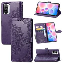 Embossing Imprint Mandala Flower Leather Wallet Case for Xiaomi Redmi Note 10 Pro / Note 10 Pro Max - Purple