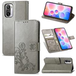 Embossing Imprint Four-Leaf Clover Leather Wallet Case for Xiaomi Redmi Note 10 Pro / Note 10 Pro Max - Grey